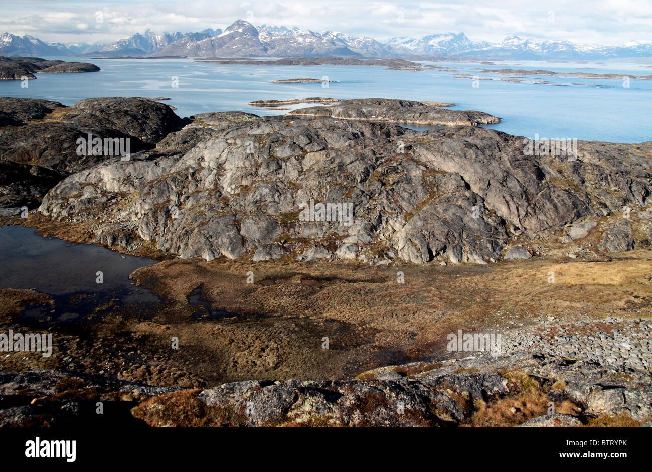 Fjord at Greenlandic coast - Stock Image