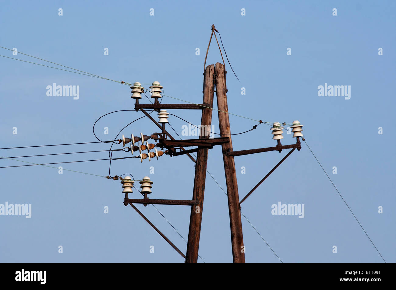 old power-transmission pole - electric power line Stock