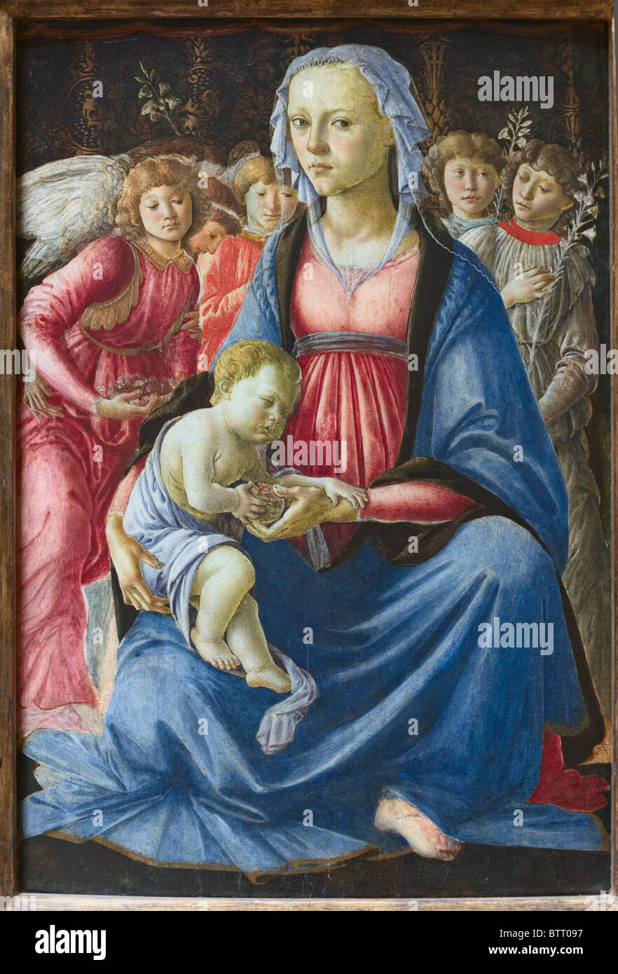 Virgin and Child with Five Angels by Italian painter Sandro Botticelli, Alessandro Filipepi, c. 1470, Louvre Museum Stock Photo