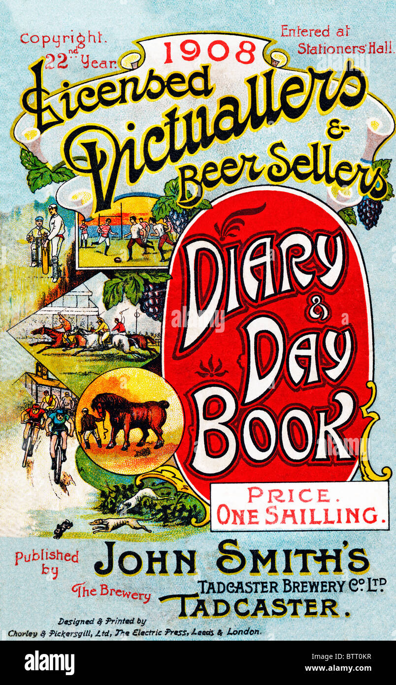 John Smiths Diary, 1908, Yorkshire brewery annual for Licensed Victuallers and Beer Sellers, Illustrated with sports - Stock Image