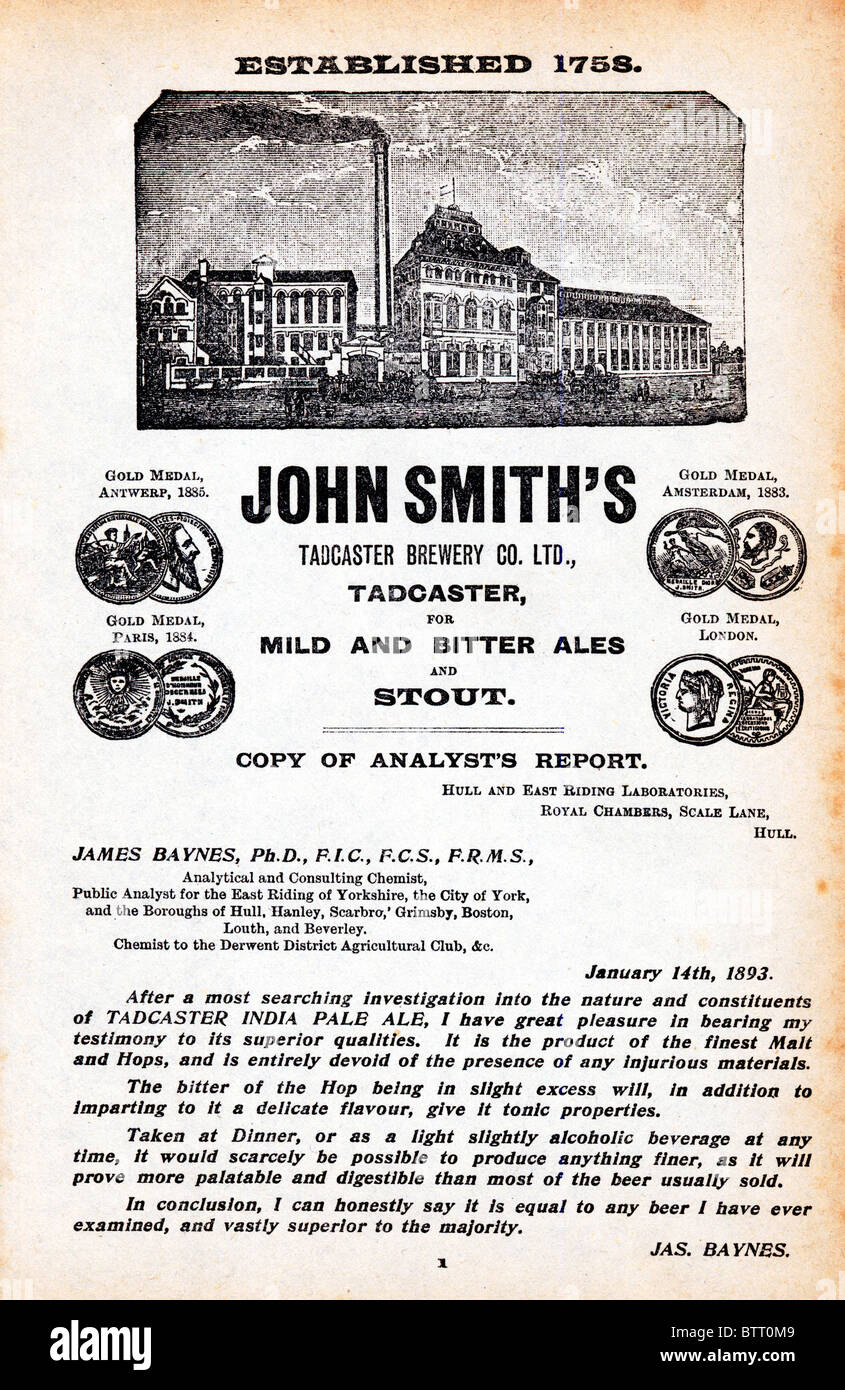 John Smiths, Tadcaster Brewery, late Victorian advert for the Yorkshire Brewers with an analysts report praising - Stock Image