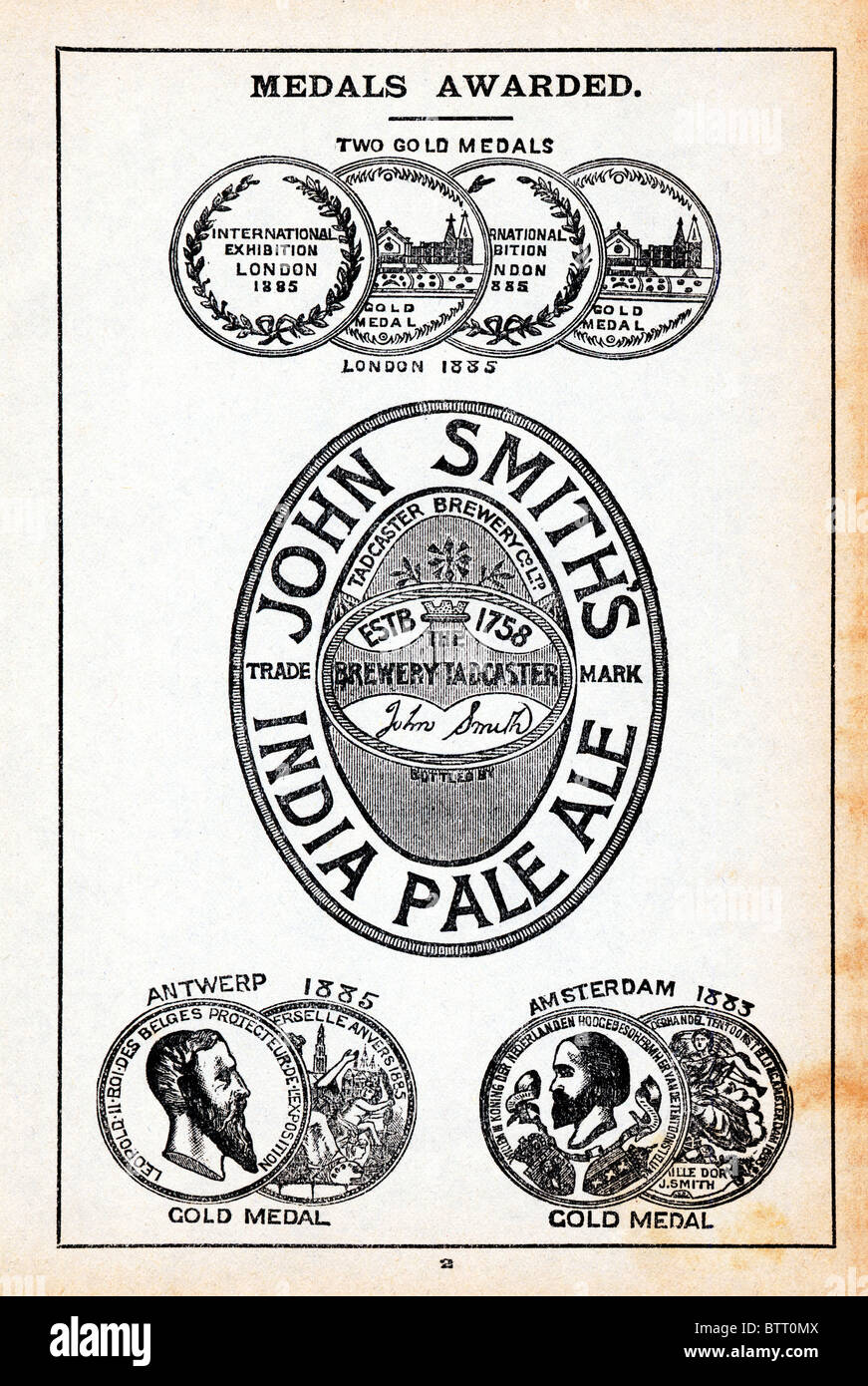 John Smiths, India Pale Ale, late Victorian advert for the Yorkshire brewer extolling the virtues of its IPA with - Stock Image