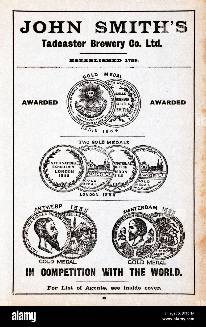 John Smiths, In Competition With The World , late Victorian advert for the Yorkshire brewer showing medals won for - Stock Image