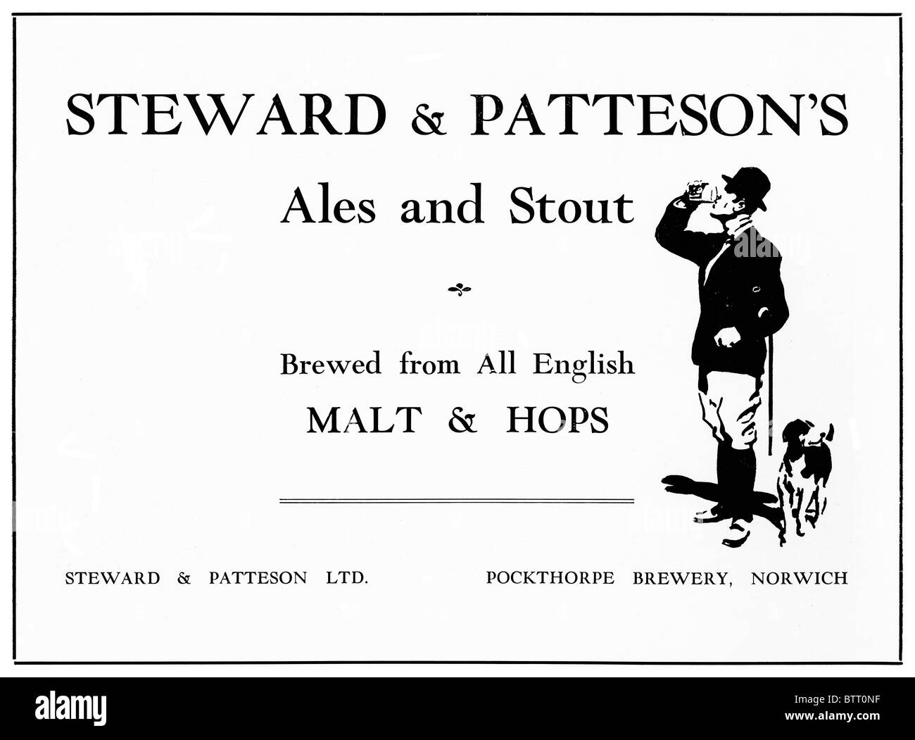 Norwich Beer, 1930s advert for ales and stout from brewers Steward & Patteson, taken over by Bullards 1963 and - Stock Image