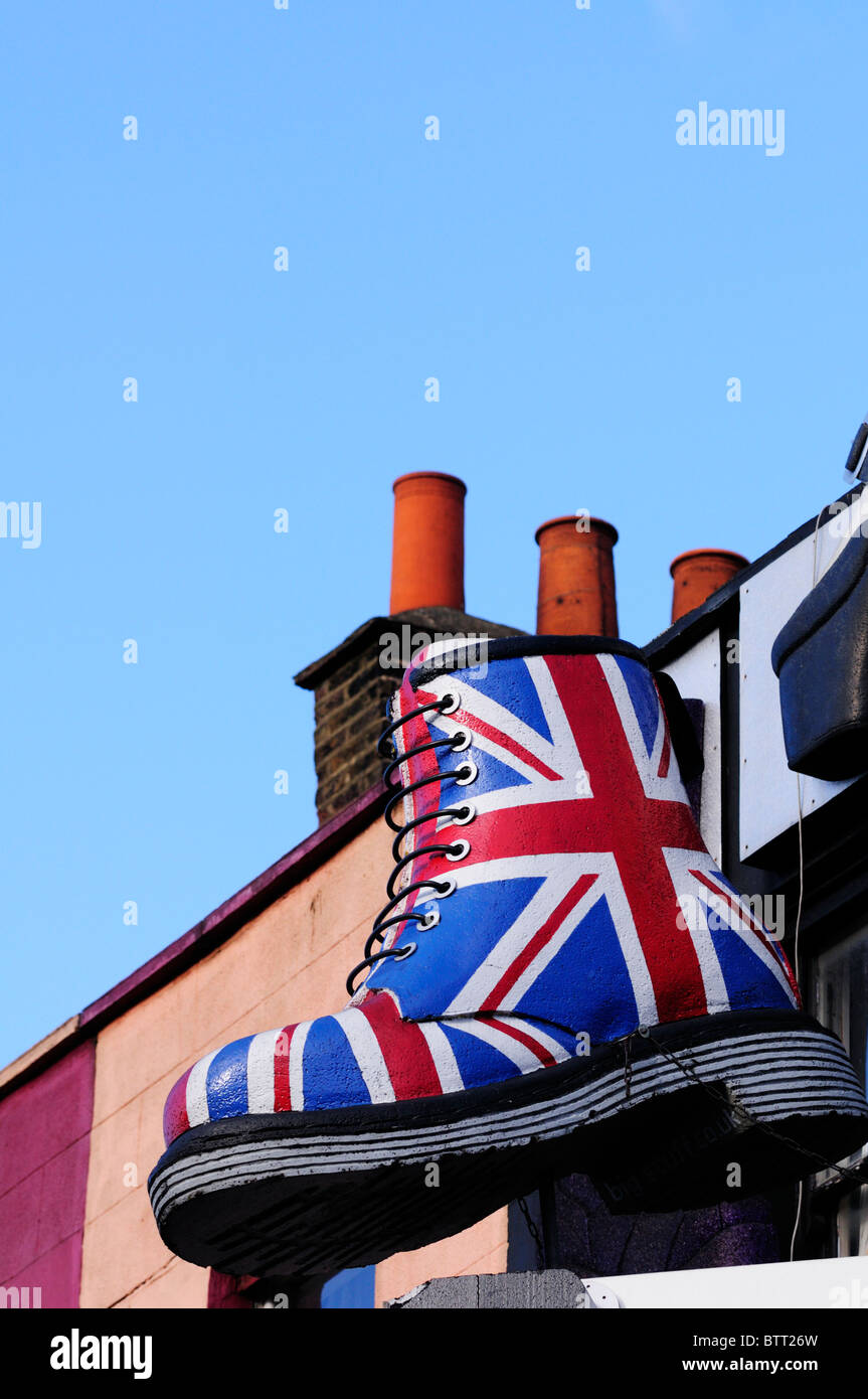59f7d76c712 A Giant Union Jack Dr Martens Boot above a shop in Camden High Street,  London, England, UK