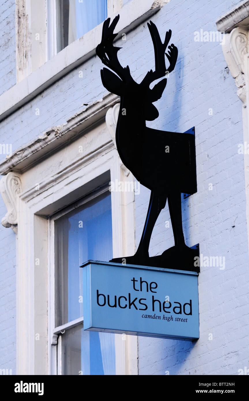 The Bucks Head pub sign, Camden High Street, London, England, UK - Stock Image