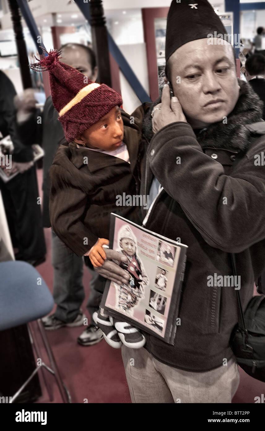 Worlds smallest man Khagendra Thapa Magar from Nepal on a visit to World Travel Market London UK - Stock Image