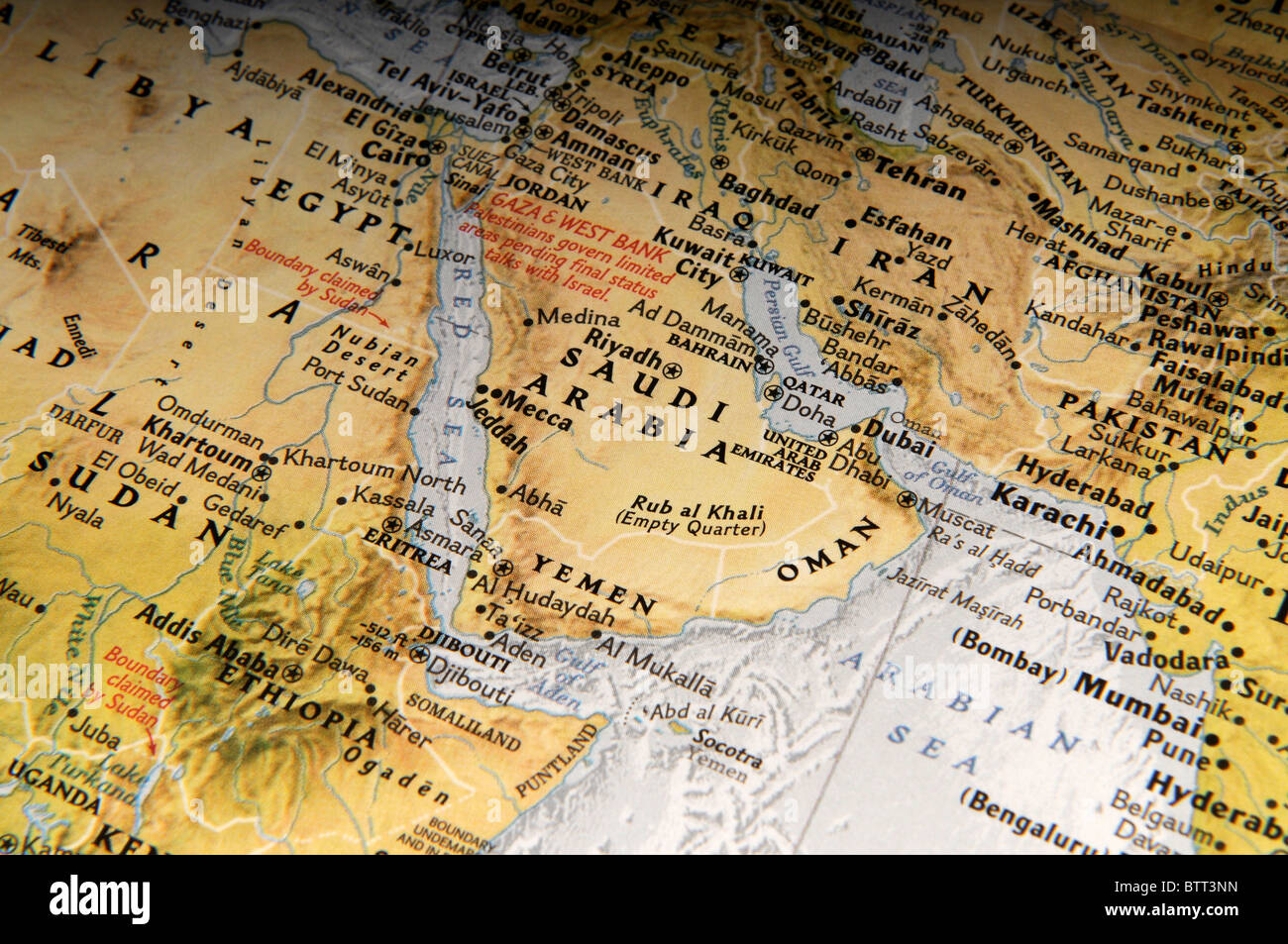 Map of Middle East - Stock Image