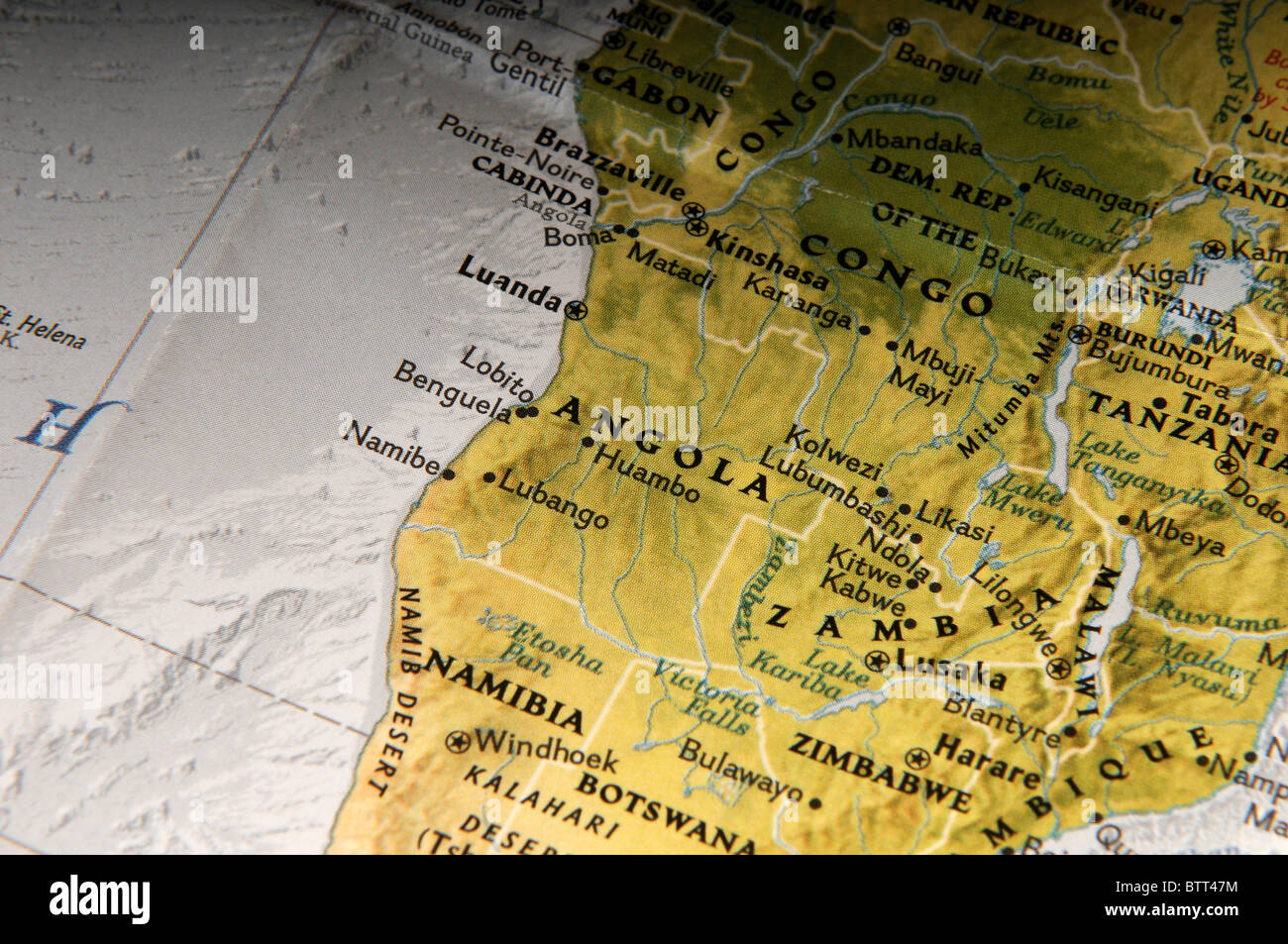 Map of Angola Congo Namibia and various countries in Africa - Stock Image