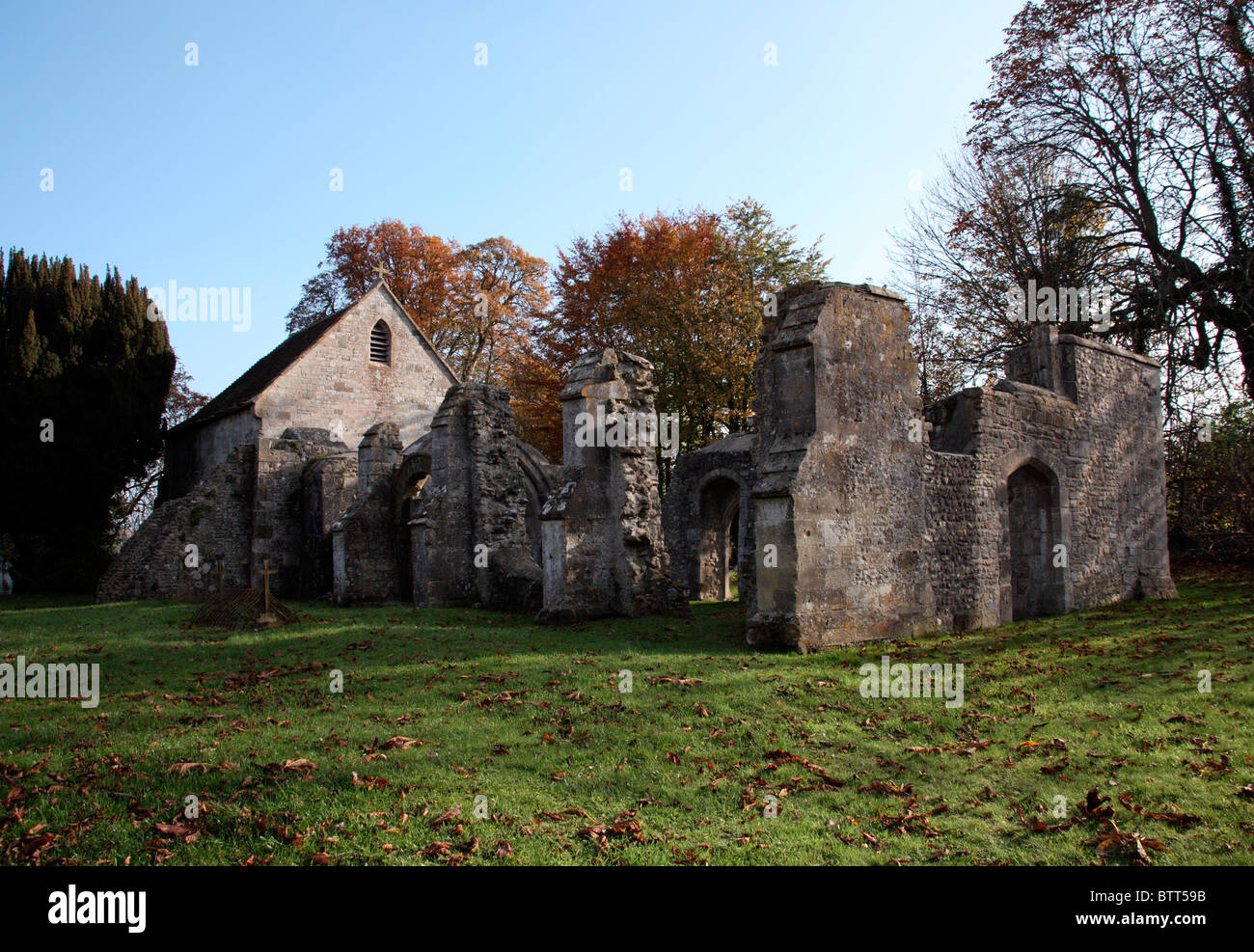 Redundant church of St Leonards, Sutton Veny, Wiltshire - Stock Image