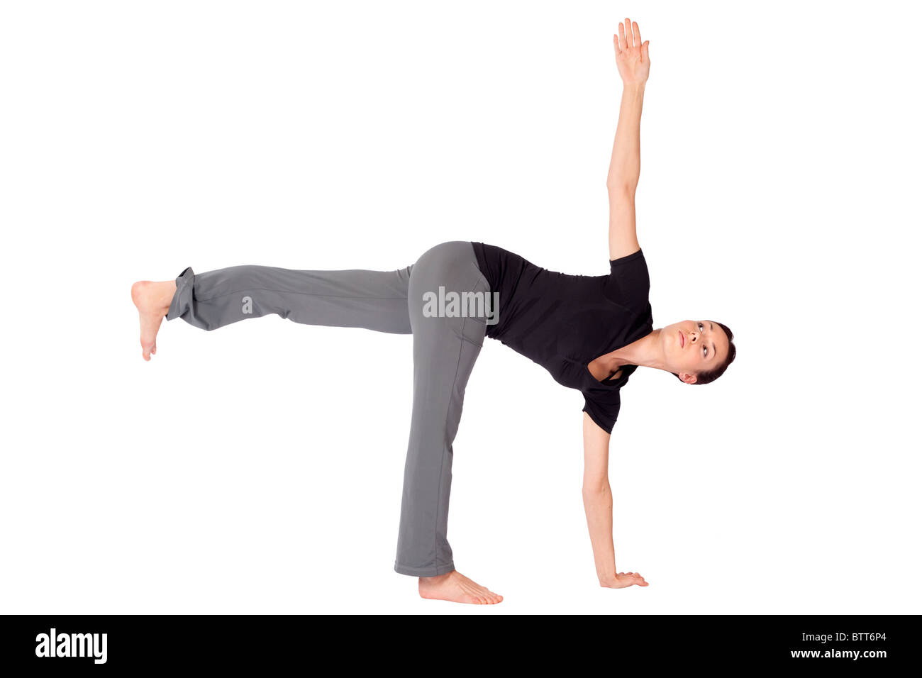 Young Fit Woman Doing Yoga Exercise Called Half Moon Sanskrit Name Parivrtta Ardhachandrasana Isolated On White Background