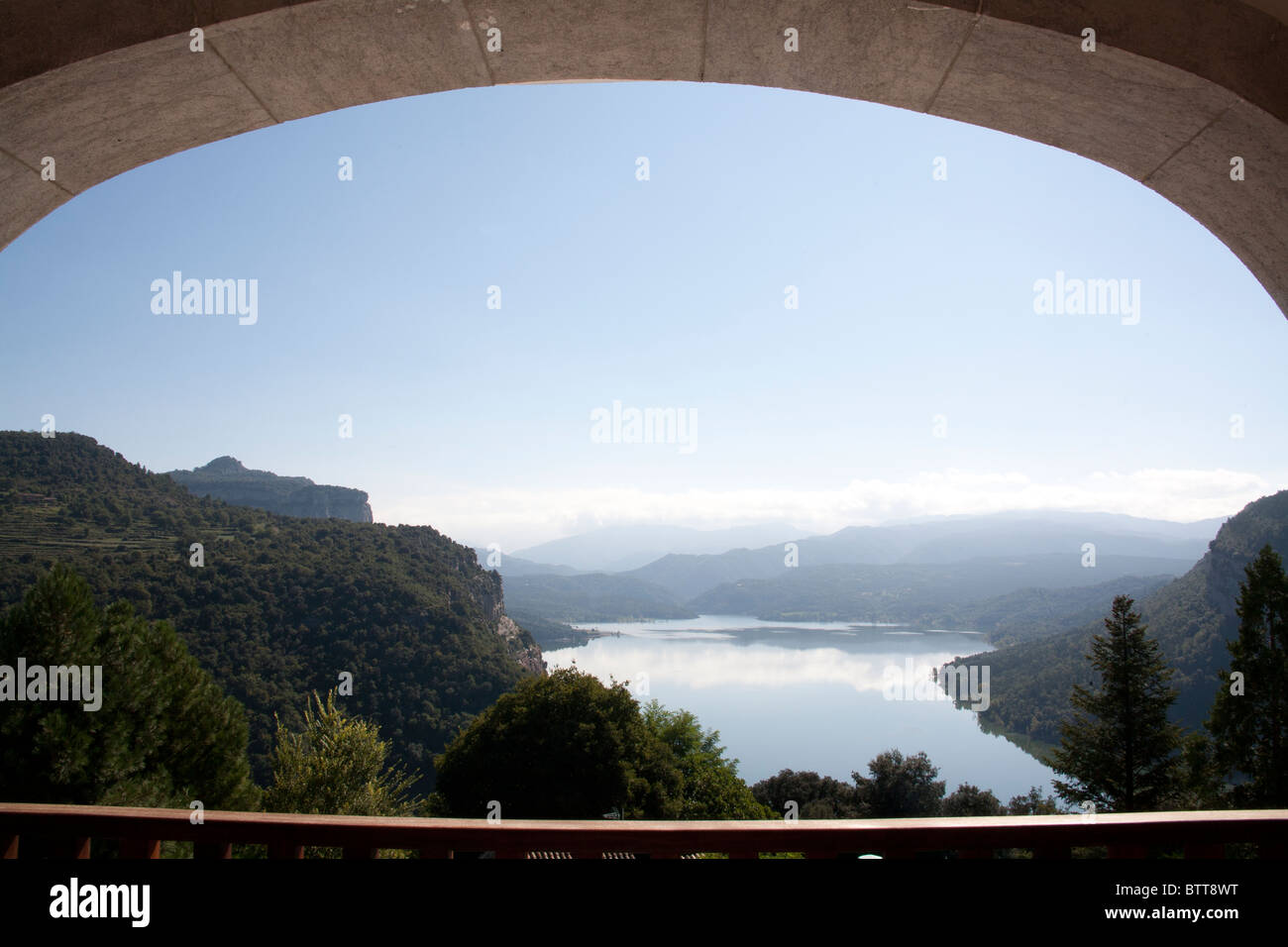 View from the balcony of the Sau reservoir Vic Parador, Catalonia Spain - Stock Image