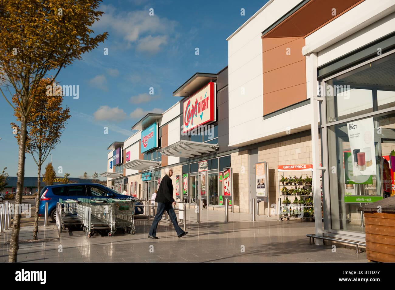 Pemberton  out of town Retail Park, Llanelli, Wales UK - Stock Image