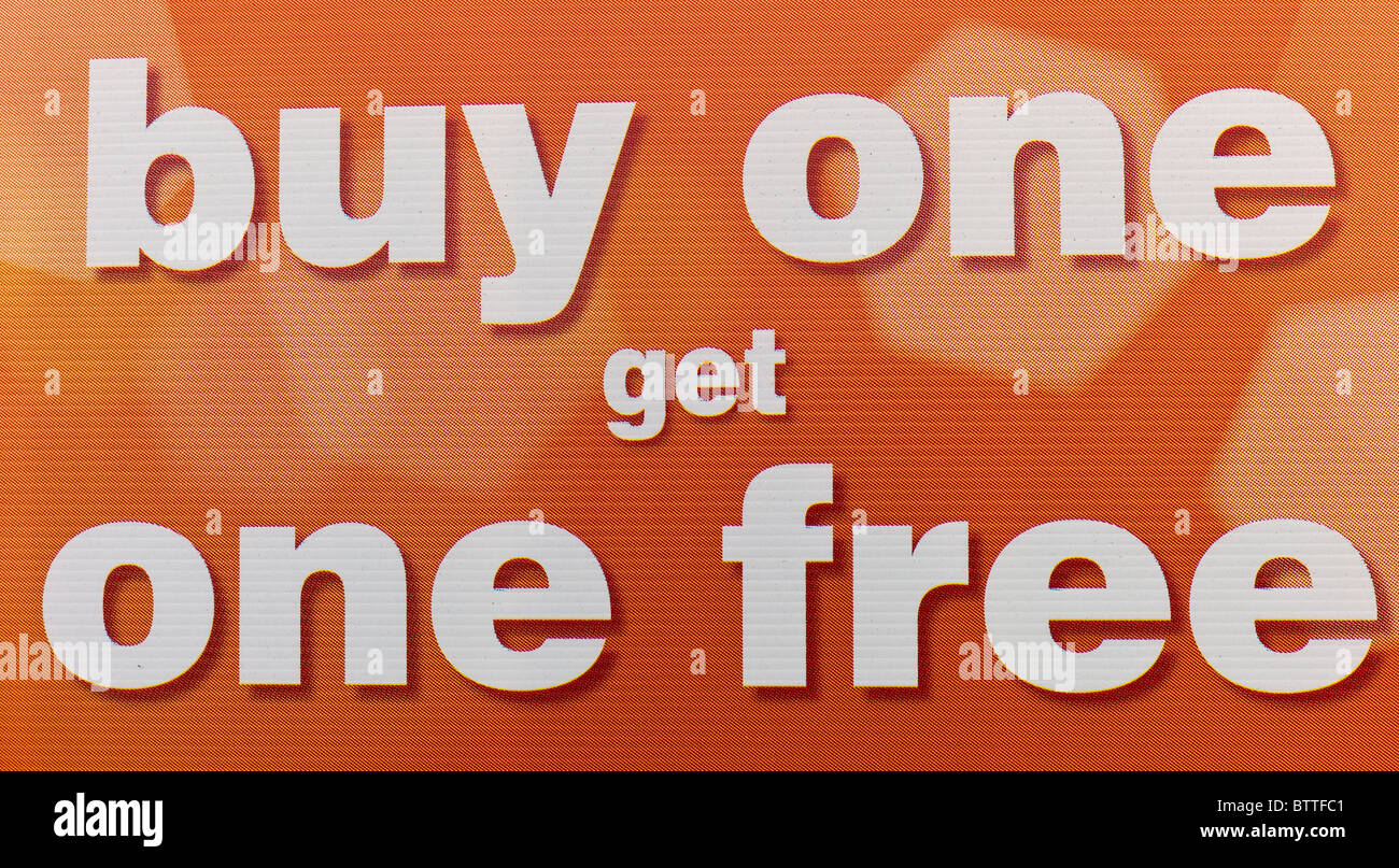 Buy one get one free sign Stock Photo: 32501057 - Alamy