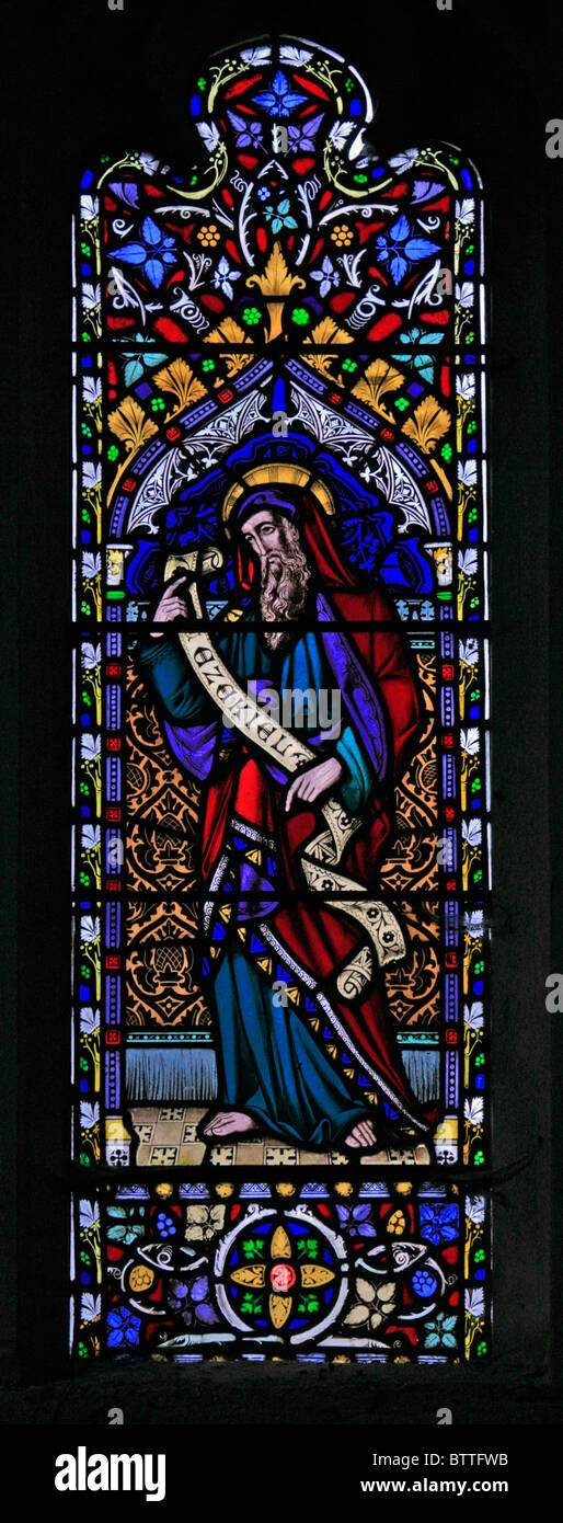 A stained glass window depicting Old Testament Prophet Ezekiel, Parish Church of St James the Great, Bratton, Wiltshire - Stock Image
