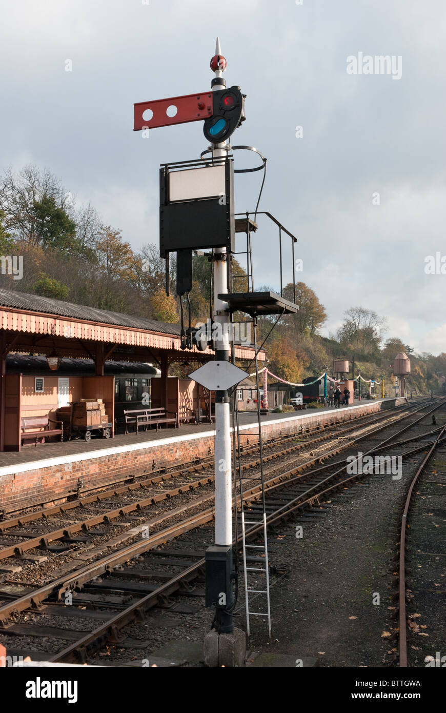 Trackside signal at Bewdley Station on the Severn Valley Railway in Worcestershire Stock Photo