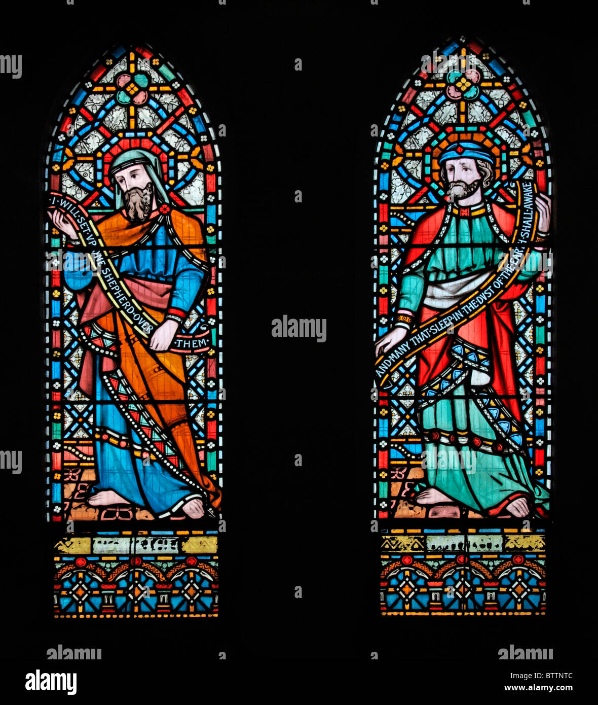 A stained glass window depicting the Old Testamant Prophets Daniel and Ezekiel, Heytesbury Church, Wiltshire - Stock Image