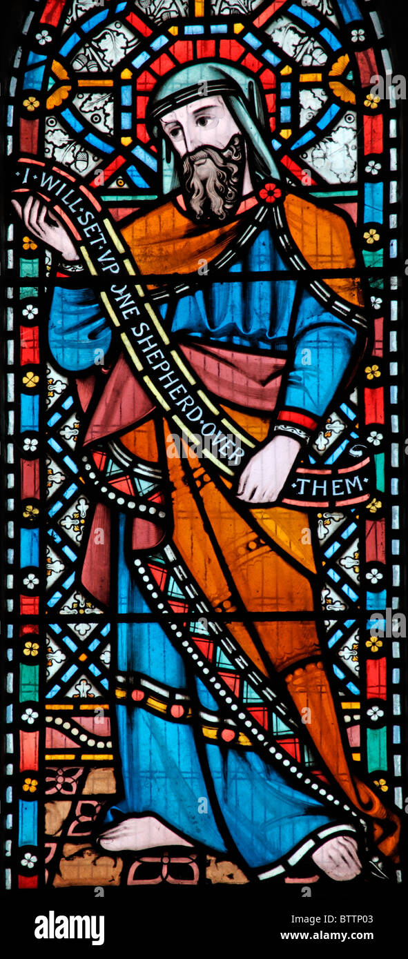 A stained glass window depicting the Old Testamant Prophet Ezekiel, Church of St Peter and St Paul, Heytesbury, - Stock Image