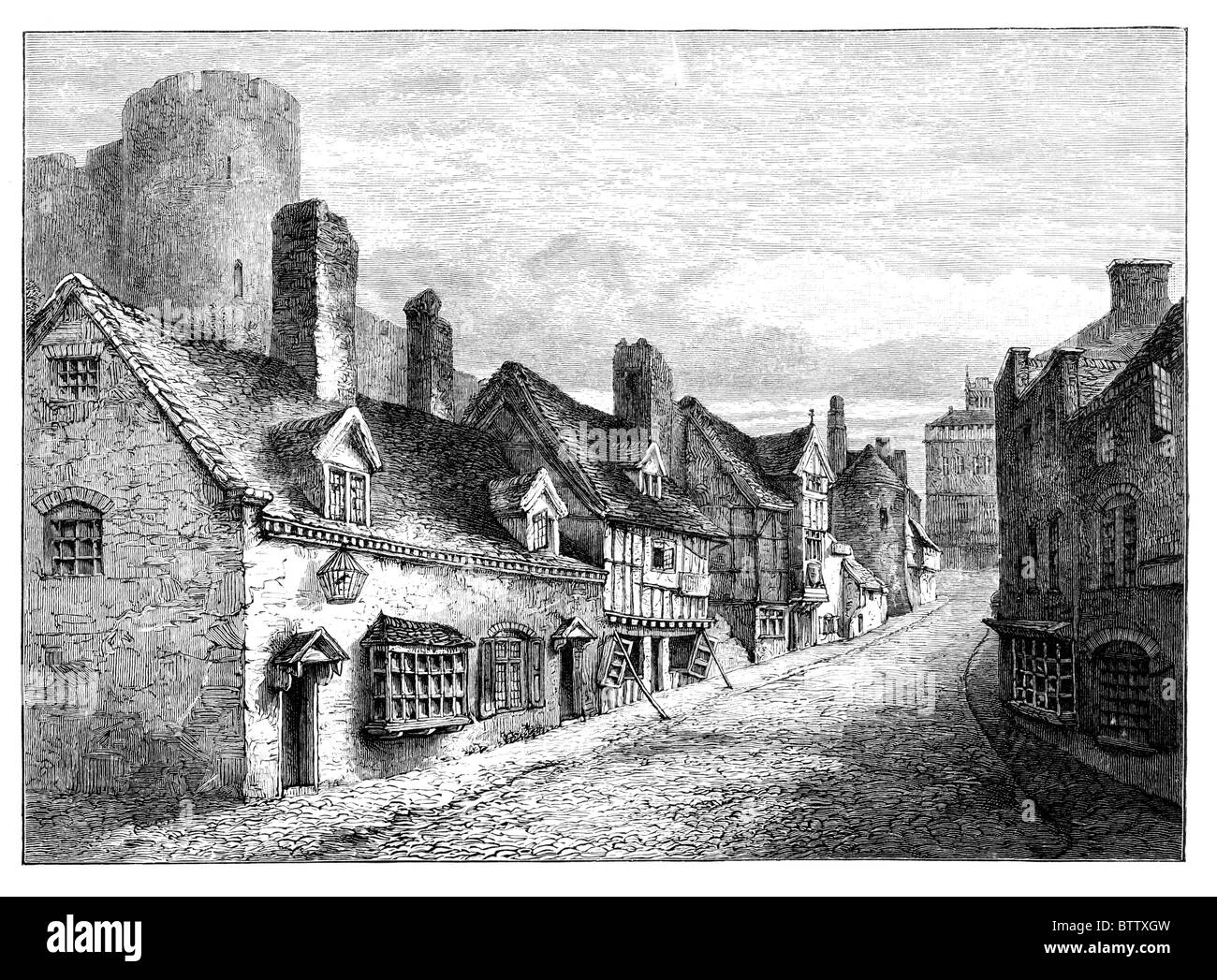 Castle Gate, Shrewsbury, Shropshire as it may have appeared in the 19th century. Black and White Illustration; - Stock Image