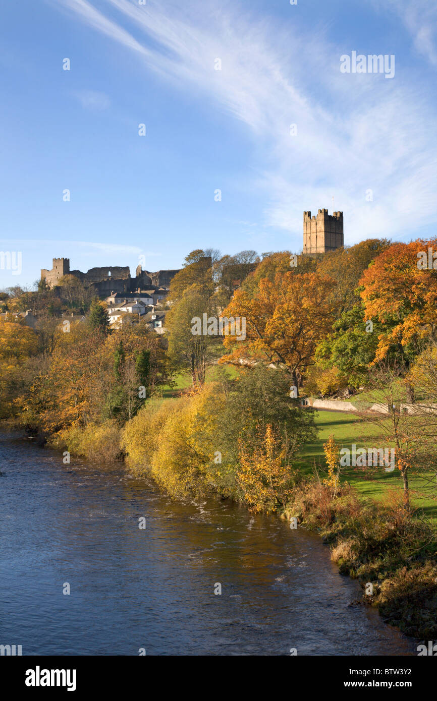 Richmond Castle and The Swale from Station Bridge North Yorkshie England - Stock Image