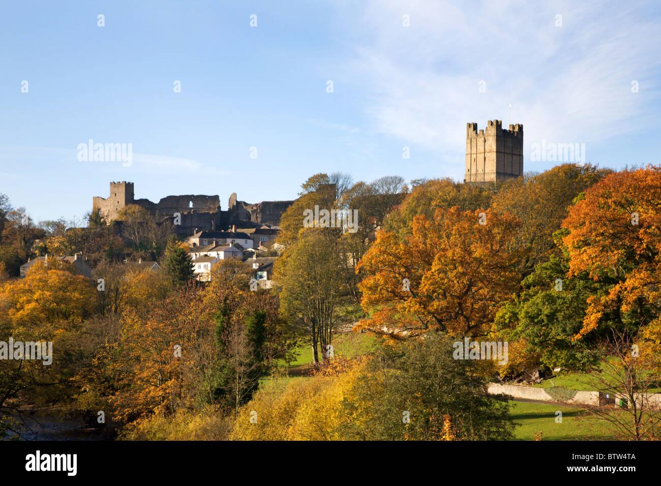 Richmond Castle from Station Bridge North Yorkshire England - Stock Image