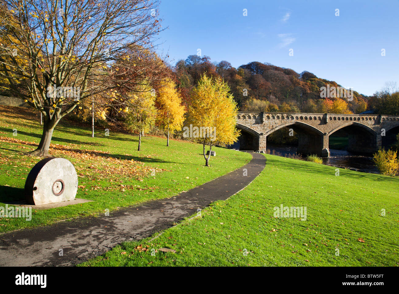 Station Bridge from The Batts Richmond North Yorkshire England Stock Photo