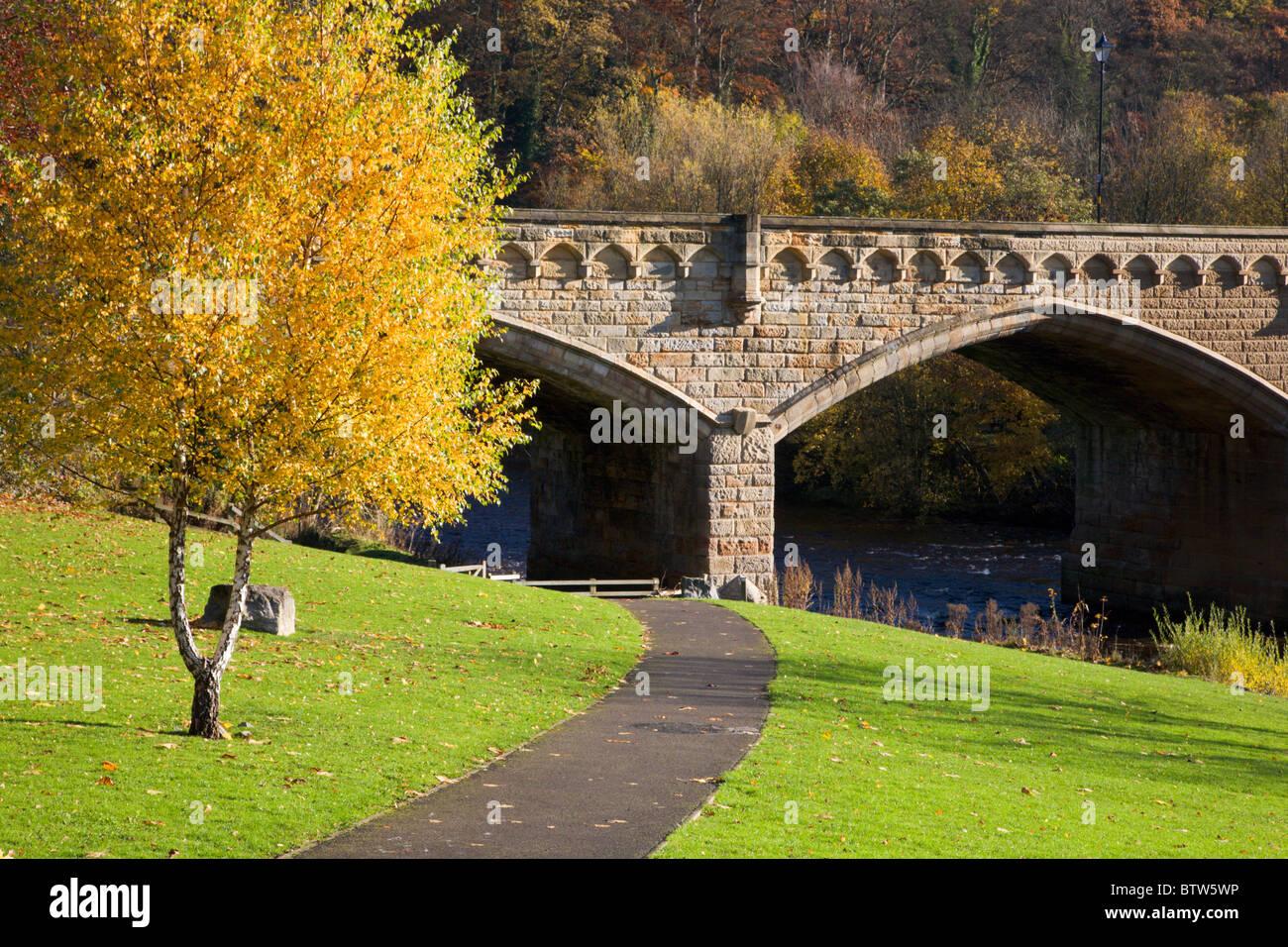 Station Bridge from The Batts Richmond North Yorkshire England - Stock Image