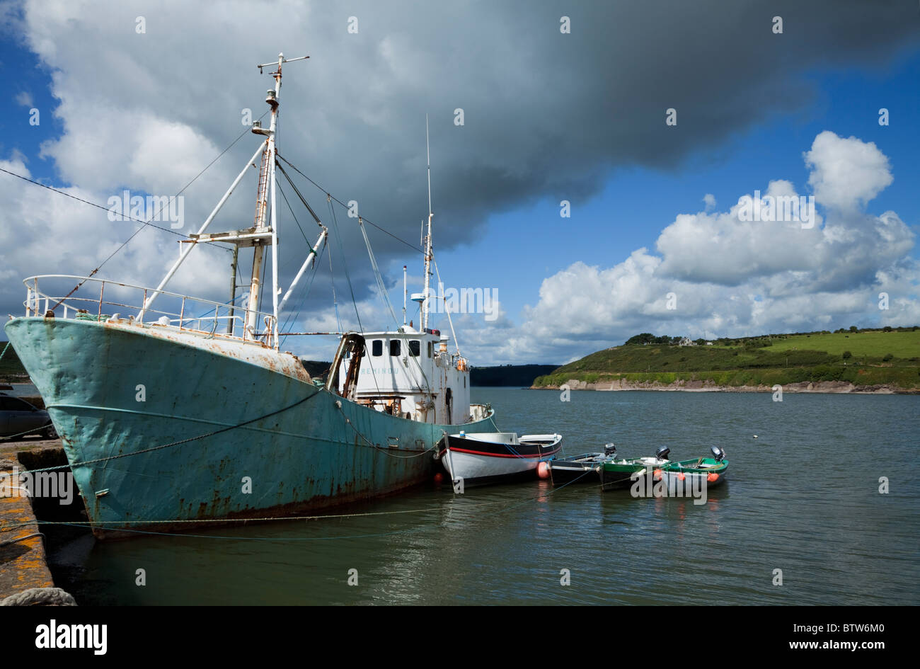 Boats Moored in the Fishing Harbour, Arthurstown, County Wexford, Ireland - Stock Image