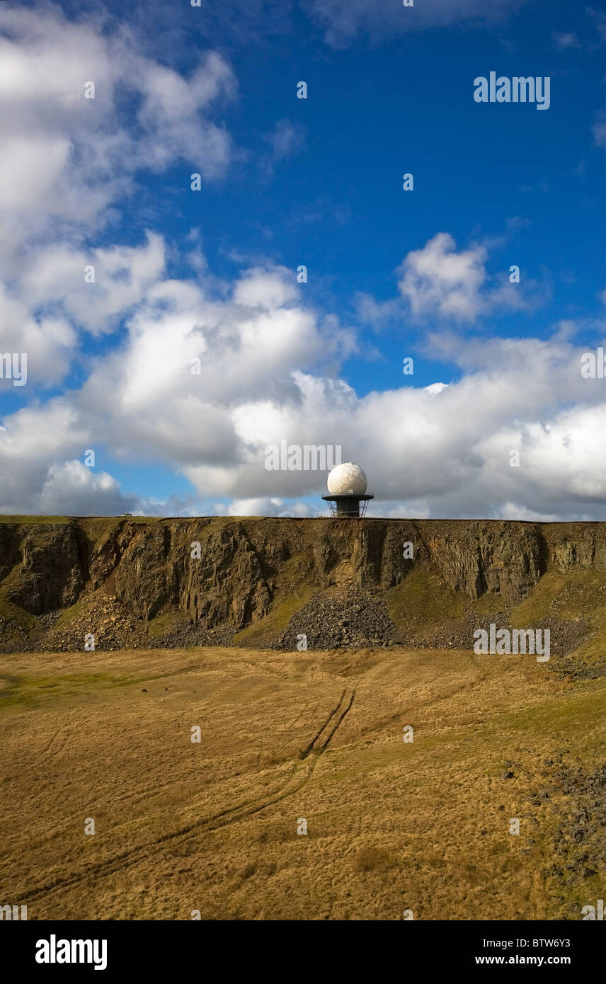 Air Traffic Control Dome, Constructed over an Old Quarry on Titterstone Clee Hill, Shropshire, UK - Stock Image