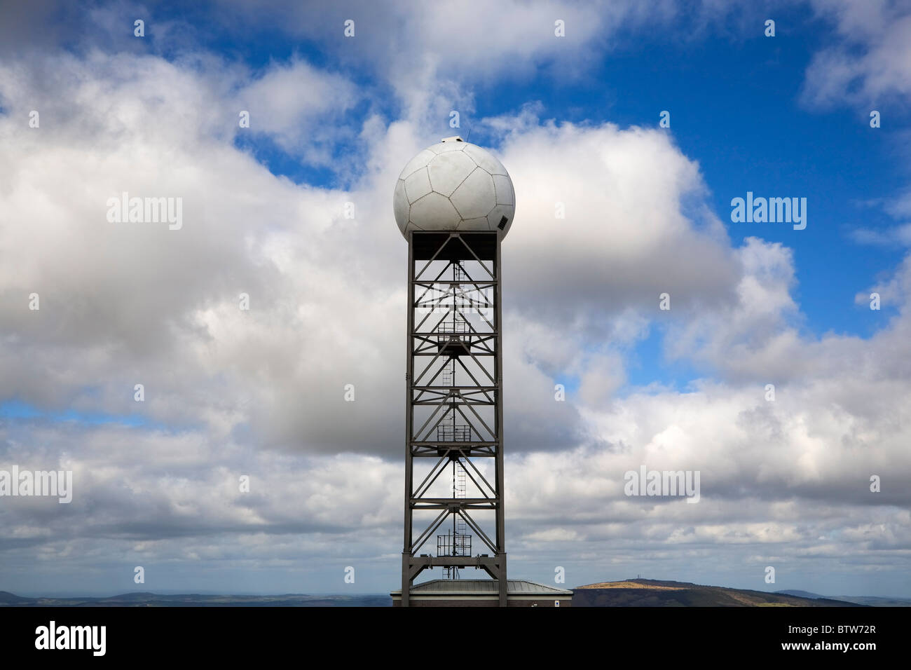 Air Traffic Control Dome, Titterstone Clee Hill, Shropshire, United Kingdom - Stock Image