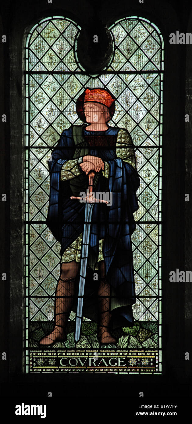 A stained glass window by Edward Burne-Jones depicting Courage, Malmesbury Abbey, Wiltshire - Stock Image