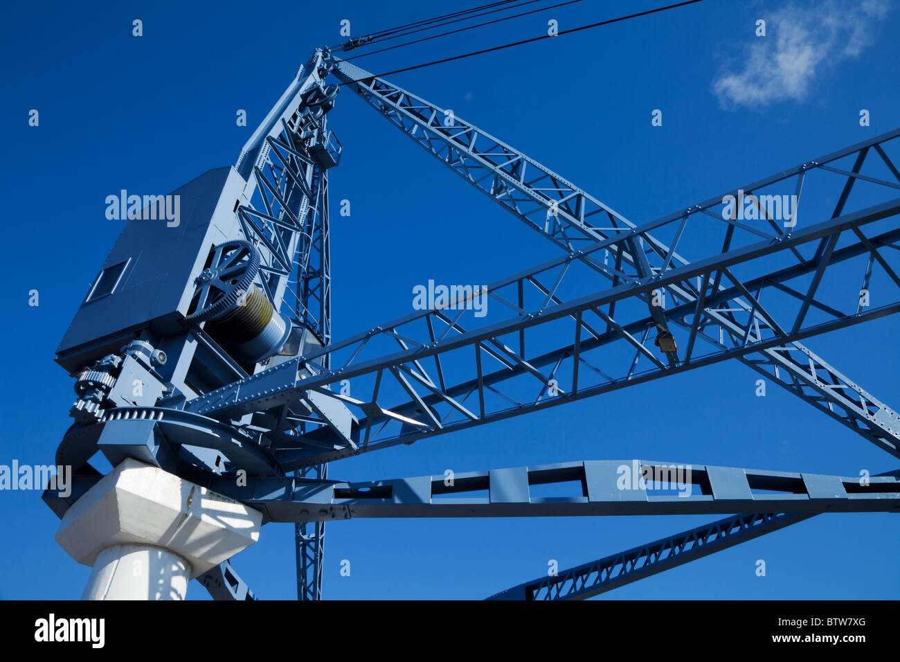 Dock Crane on the Quays, Now a Sculptural Exhibit, Waterford City, Ireland - Stock Image
