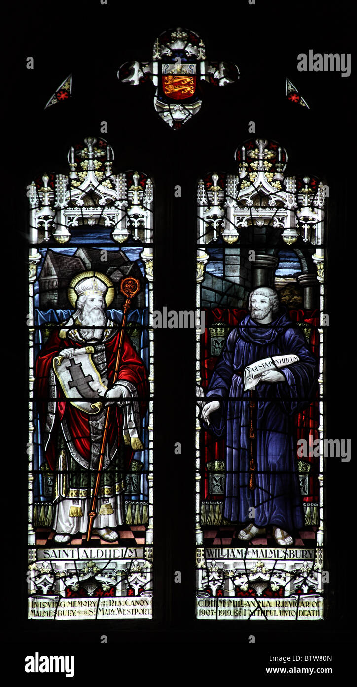 A stained glass window depicting Saint Aldhelm and William of Malmesbury, Malmesbury Abbey, Wiltshire Stock Photo