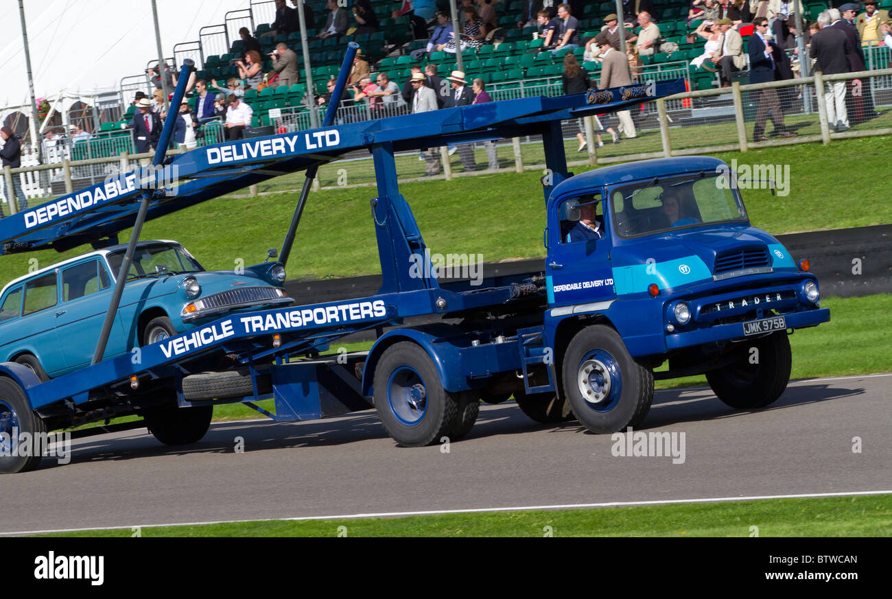 1964 Thames Trader car transporter with Ford Anglia estate. 2010 Goodwood Revival, Sussex, England, UK. - Stock Image