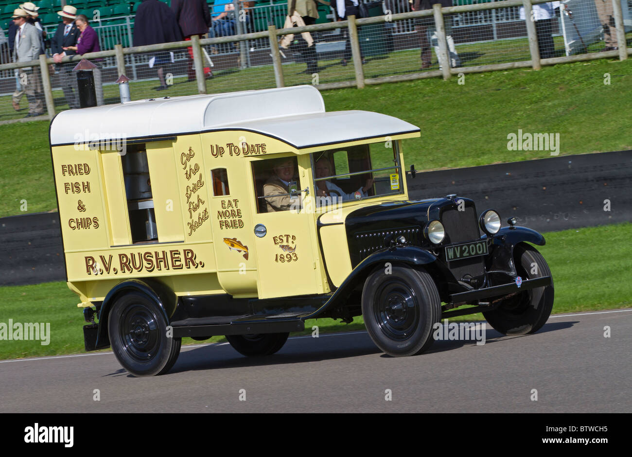 1932 Bedford WS 30cwt lorry in R.V. Rusher fish & chip van livery. 2010 Goodwood Revival, Sussex, England, UK. - Stock Image