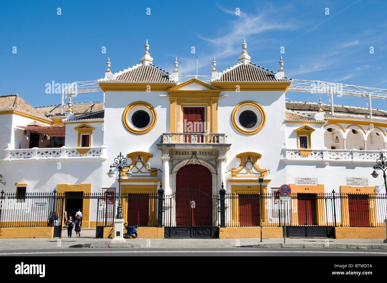 The Plaza de Toros de la Real Maestranza de Caballería de Sevilla is the oldest bullring in Spain  Andalusia - Stock Image