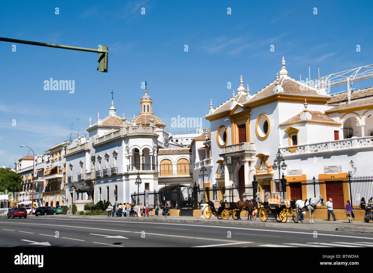 The Plaza de Toros de la Real Maestranza de Caballería de Sevilla is the oldest bullring in Spain  Andalusia - Stock Image