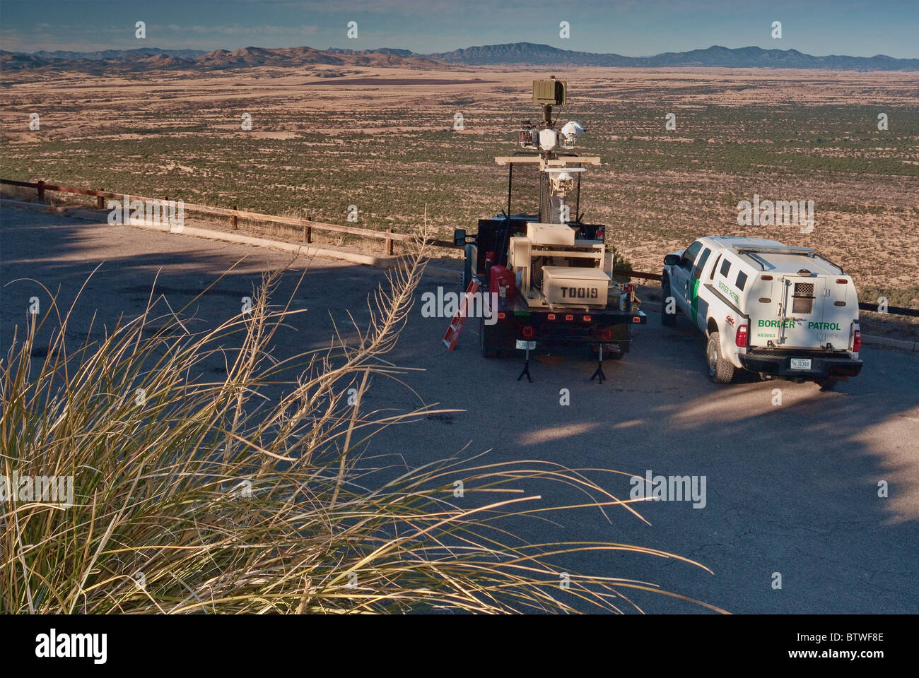 Border Patrol unmanned vehicle with infrared sensors to detect illegal aliens and drug smugglers at Montezuma Pass, - Stock Image