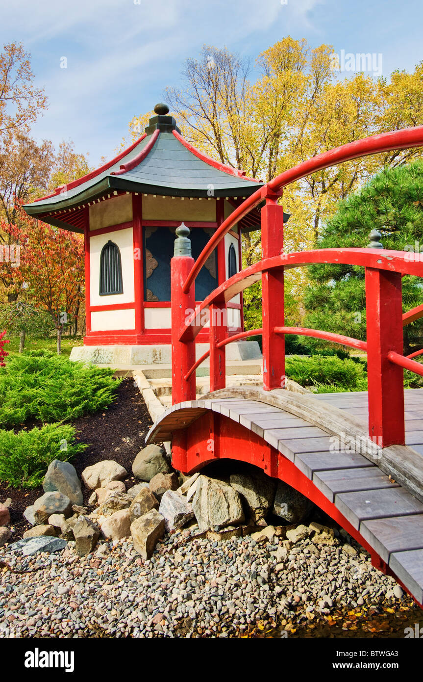 Pagoda and bridge at the Japanese garden at Normandale Community College in Bloomington, Minnesota.