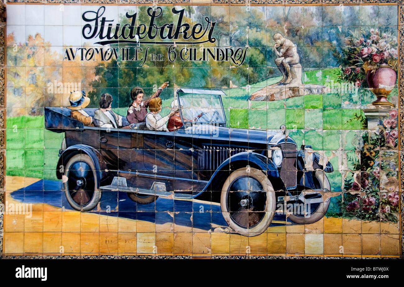 Seville Spain Studebaker old Car vintage Sign Billboard   advert Studebaker motor car  1924 Calle Tetuan Seville - Stock Image