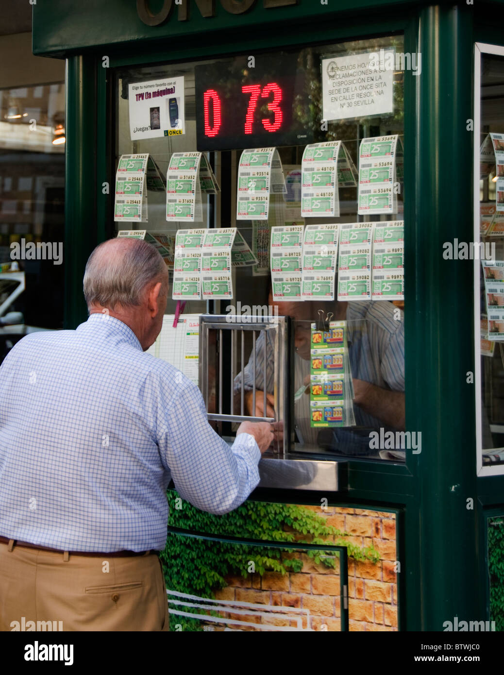 Spain lottery ticket gamble gambling gambler - Stock Image