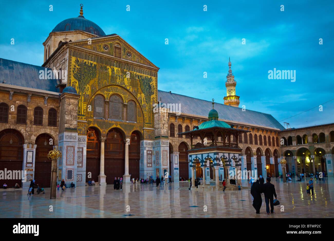 The great Umayad Mosqued Damascus, Syria at night Stock Photo