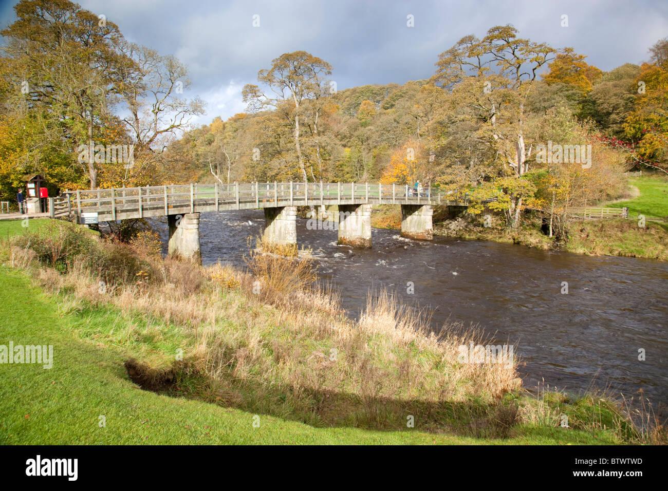 Bolton Abbey Estate; bridge over the River Wharfe; Yorkshire - Stock Image