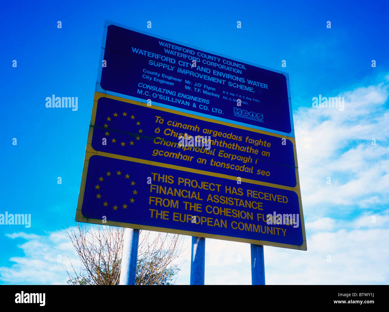 Road Sign Indicating Ec Support, Near Waterford City, Co Waterford, Ireland - Stock Image