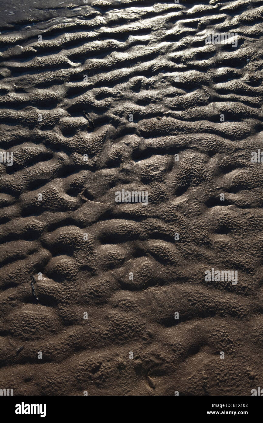 Ripples in sand on beach after tide has gone out - Stock Image