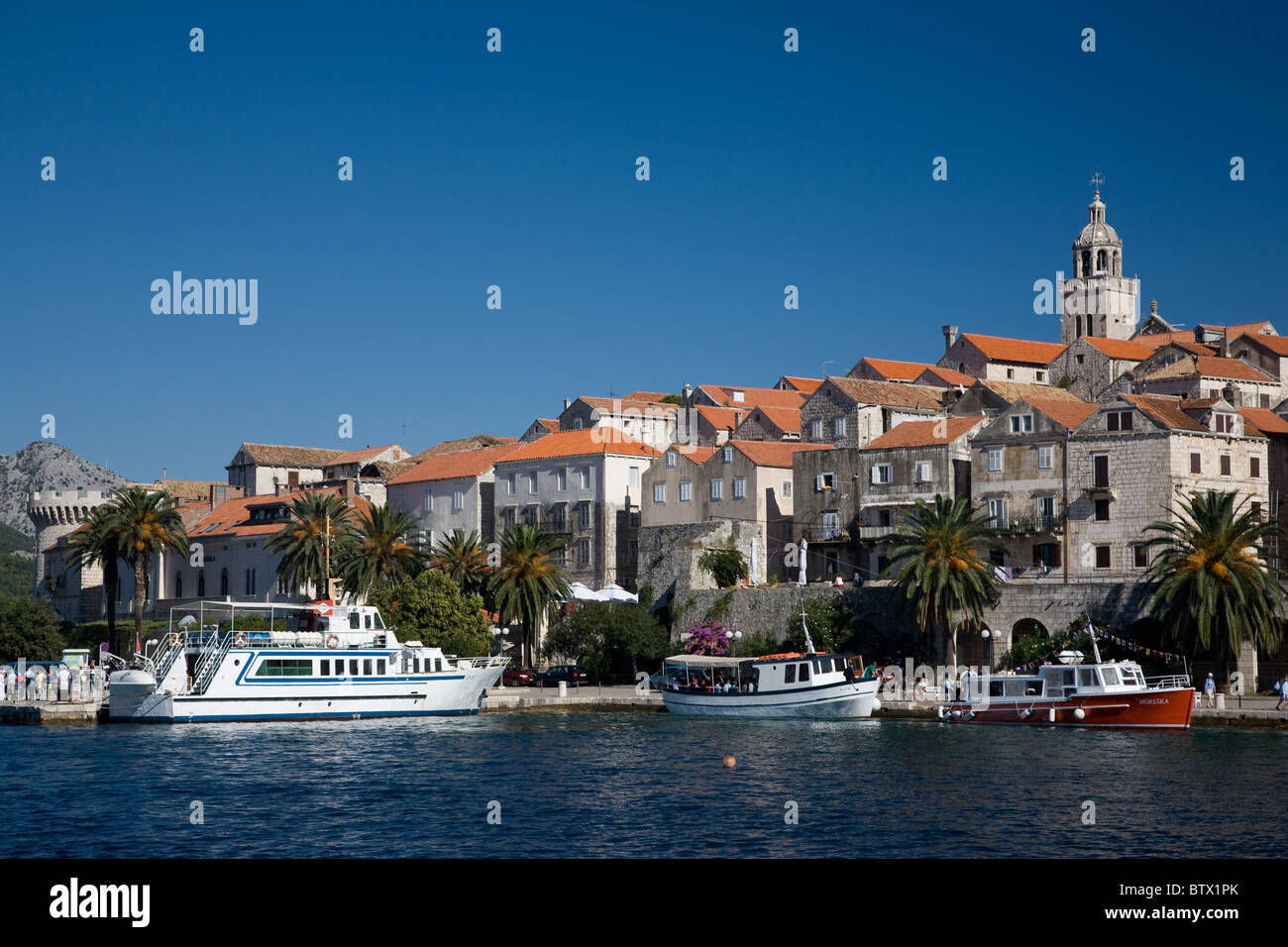 Korcula Croatia bay old town boats - Stock Image