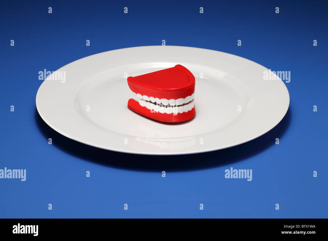 One set of plastic gums and teeth on a white dinner plate - Stock Image