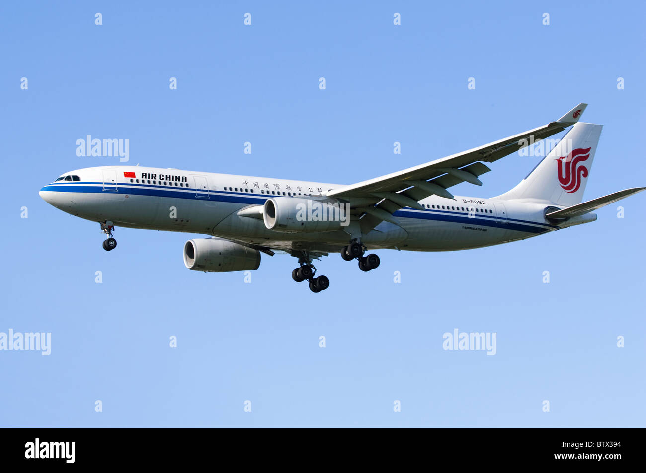 Airbus A330 operated by Air China on approach for landing at London Heathrow Airport - Stock Image