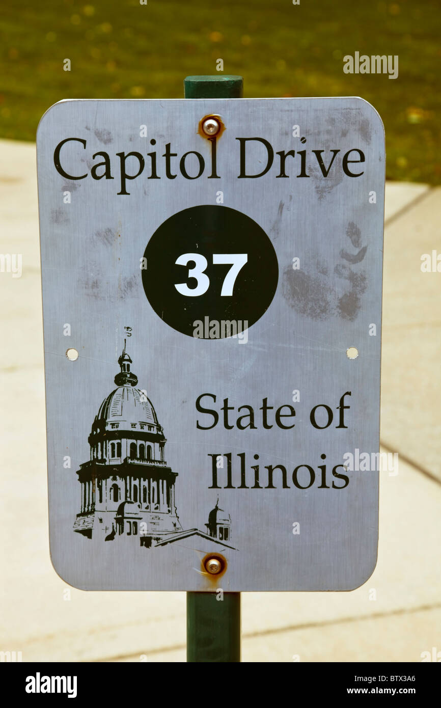 Springfield, Illinois - State Capitol parking sign - Stock Image