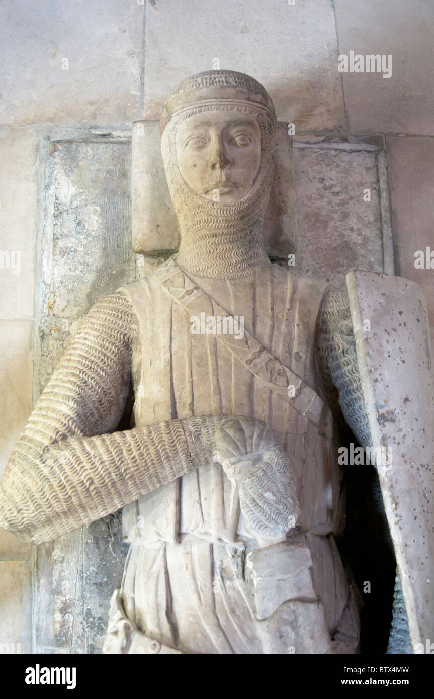 Effigy of a Knight in Temple Church, London, England - Stock Image